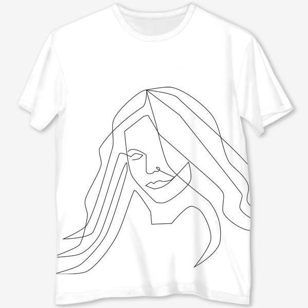 Футболка с полной запечаткой «Девушка с длинными волосами»