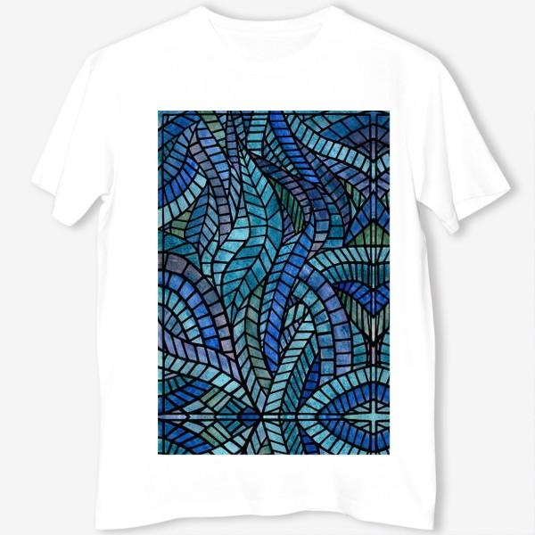Футболка «Голубая геометрическая мозаика Ар нуво»