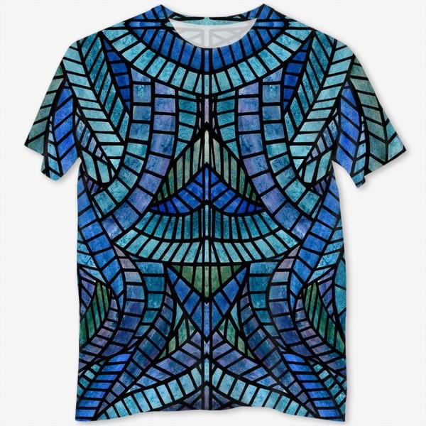 Футболка с полной запечаткой «Голубая геометрическая мозаика Ар нуво»