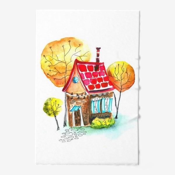 Полотенце «Осенний домик. Акварель»