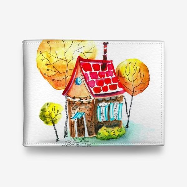 Кошелек «Осенний домик. Акварель»