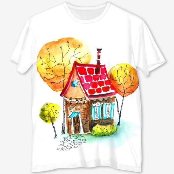 Футболка с полной запечаткой «Осенний домик. Акварель»