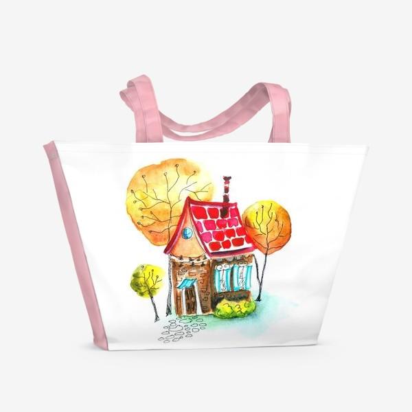 Пляжная сумка «Осенний домик. Акварель»
