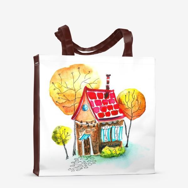 Сумка-шоппер «Осенний домик. Акварель»