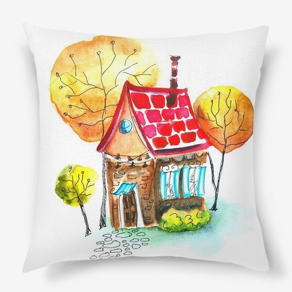 Подушка «Осенний домик. Акварель»