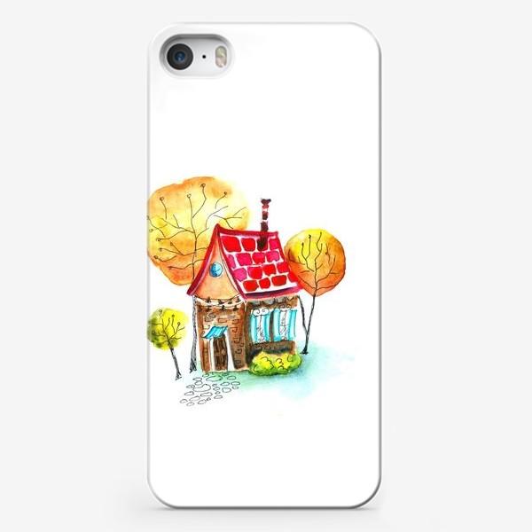 Чехол iPhone «Осенний домик. Акварель»