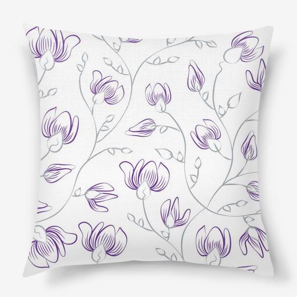 Подушка «Бесшовный фон с цветами»