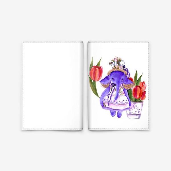 Обложка для паспорта «Фиолетовый слон»