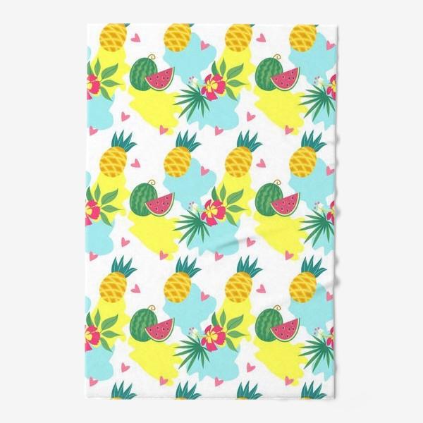 Полотенце «Тропический фон, цветы и фрукты. Бесшовный паттерн»