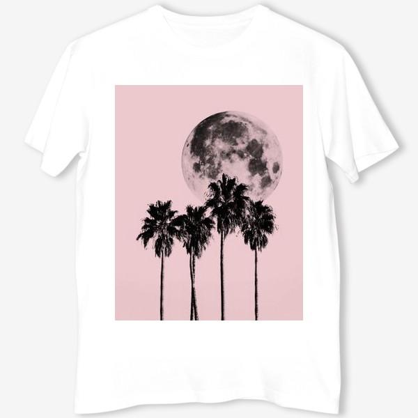Футболка «Пальмы и луна на розовом фоне»