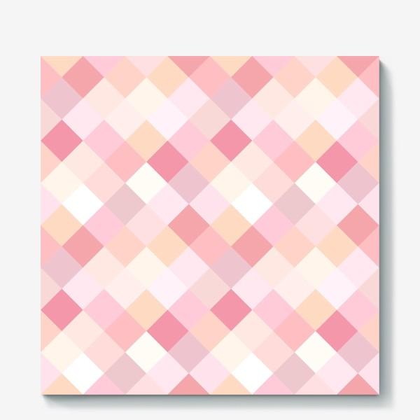 Холст «Ромбики в розовых тонах. Паттерн.»