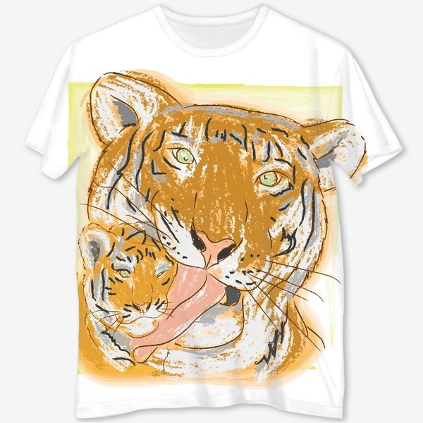 Футболка с полной запечаткой «Утренние умывашки. Мама тигрица и тигренок»