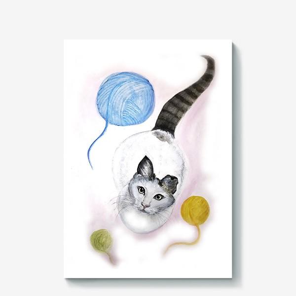 Холст «Кот и клубок»