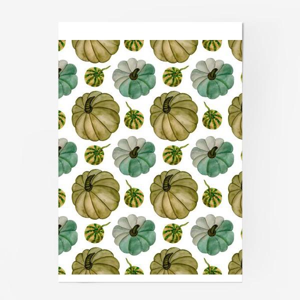 Постер «Паттерн зелёные тыковки»