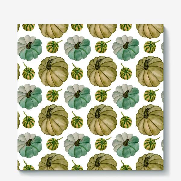 Холст «Паттерн зелёные тыковки»