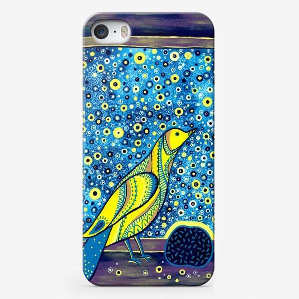 Чехол iPhone «Желтая птица на окне. Звездная ночь»