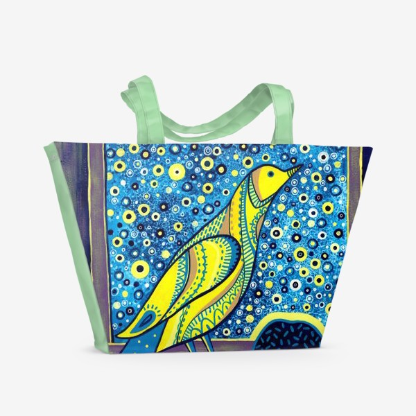 Пляжная сумка «Желтая птица на окне. Звездная ночь»