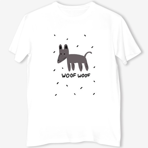 Футболка «Серая собака на белом фоне, подарок любителю собак. Подарок ребенку, дочке, сыну, другу, подруге»