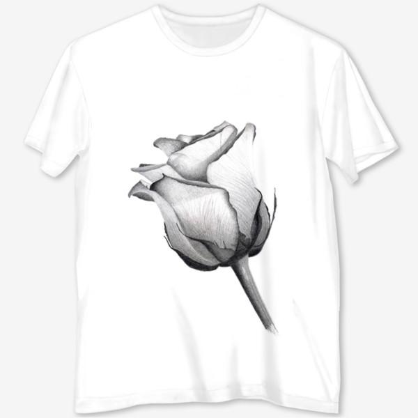 Футболка с полной запечаткой «Роза. Рисунок розы. Графика. Реализм.»
