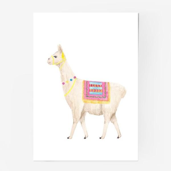 Постер «Белая лама (альпака), с яркими перуанскими аксессуарами, акварельный принт»