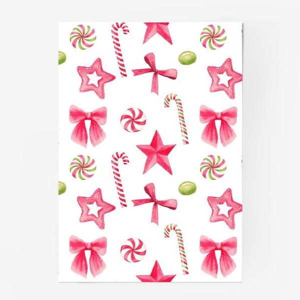 Постер «Новый год и рождество, конфеты, звезды и банты. Акварельный принт на белом фоне»