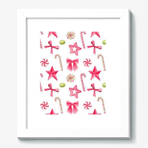Картина «Новый год и рождество, конфеты, звезды и банты. Акварельный принт на белом фоне»