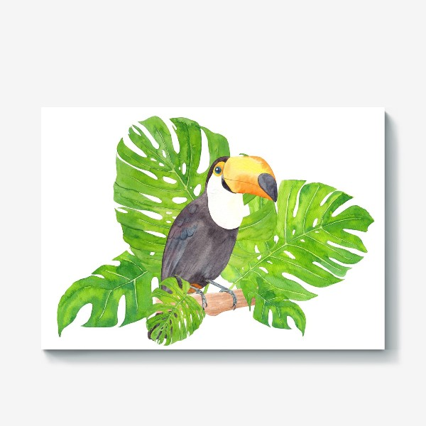 Холст «Птица тукан среди листьев монстеры. Тропический акварельный летний принт с попугаем на белом фоне»