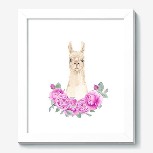 Картина «Лама (альпака) с розовыми розами, лето, акварельный портрет животного на белом фоне»