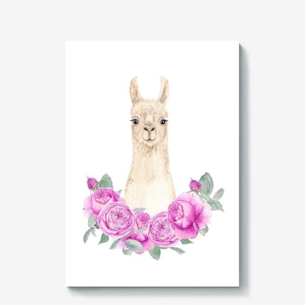 Холст «Лама (альпака) с розовыми розами, лето, акварельный портрет животного на белом фоне»