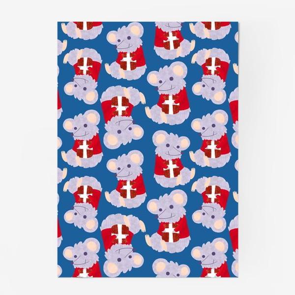Постер «Мышки с подарками в красных свитеркахю С новым 2020 годом крысы»