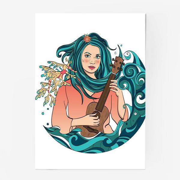 Постер «Русалка играет на укулеле»