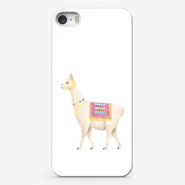 Чехол iPhone «Белая лама (альпака), с яркими перуанскими аксессуарами, акварельный принт»
