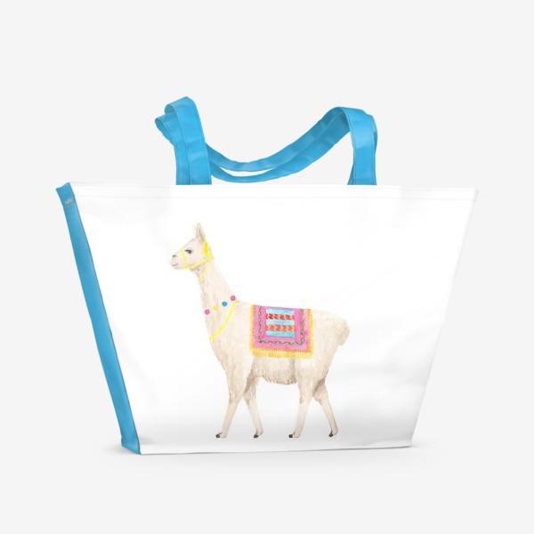 Пляжная сумка «Белая лама (альпака), с яркими перуанскими аксессуарами, акварельный принт»