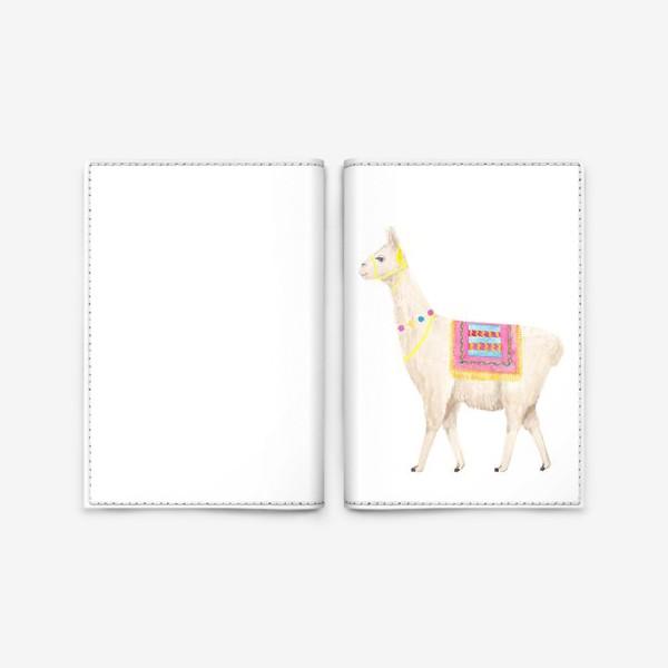Обложка для паспорта «Белая лама (альпака), с яркими перуанскими аксессуарами, акварельный принт»