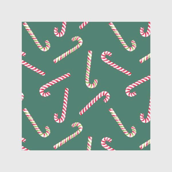 Скатерть «Новогодний акварельный паттерн конфеты на зеленом фоне»