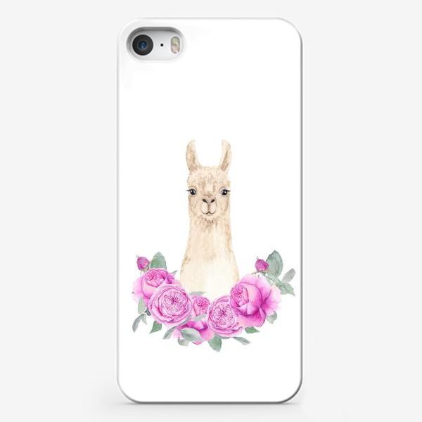 Чехол iPhone «Лама (альпака) с розовыми розами, лето, акварельный портрет животного на белом фоне»