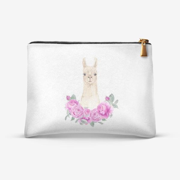 Косметичка «Лама (альпака) с розовыми розами, лето, акварельный портрет животного на белом фоне»