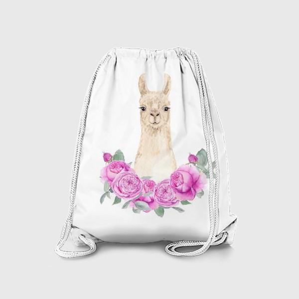 Рюкзак «Лама (альпака) с розовыми розами, лето, акварельный портрет животного на белом фоне»