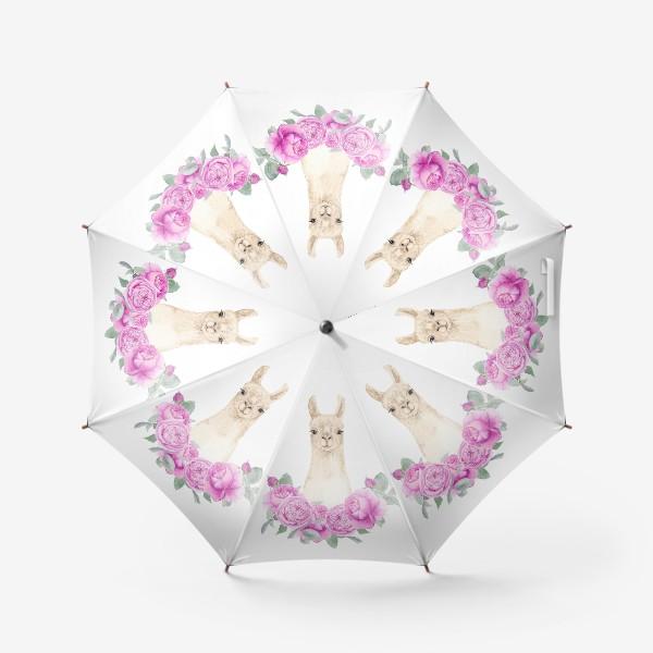 Зонт «Лама (альпака) с розовыми розами, лето, акварельный портрет животного на белом фоне»
