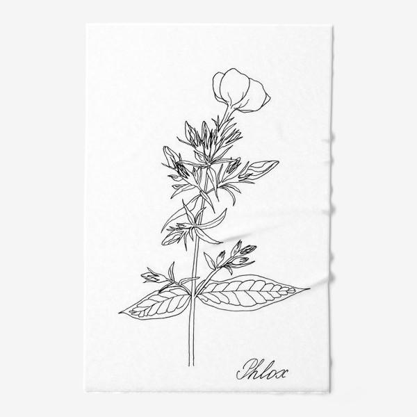 Полотенце «Цветок флокса, черно-белая летняя ботаническая иллюстрация, графика, линейный рисунок на белом фоне»