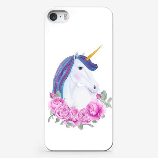 Чехол iPhone «Белый единорог с розовыми розами, акварельный принт»