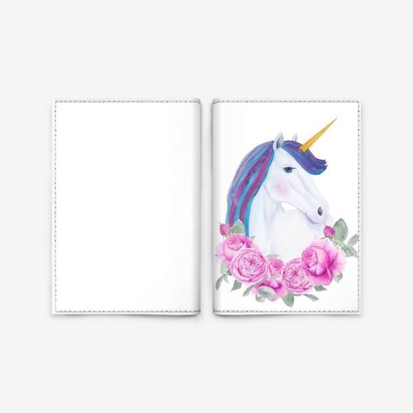 Обложка для паспорта «Белый единорог с розовыми розами, акварельный принт»