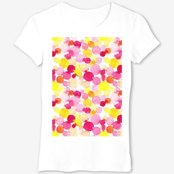 Футболка «Акварельные круги, летний абстрактный геометрический паттерн в горошек розовый желтый, оранжевый на белом фоне»