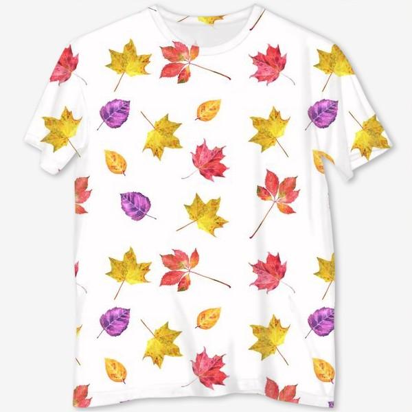 Футболка с полной запечаткой «Осенние цветные листья. Акварельный ботанический принт на белом фоне»