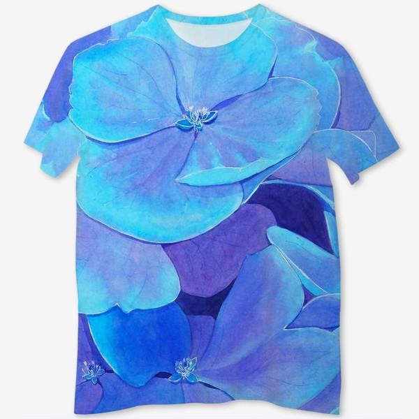 Футболка с полной запечаткой «Цветы голубой гортензии, акварельный летний ботанический принт»