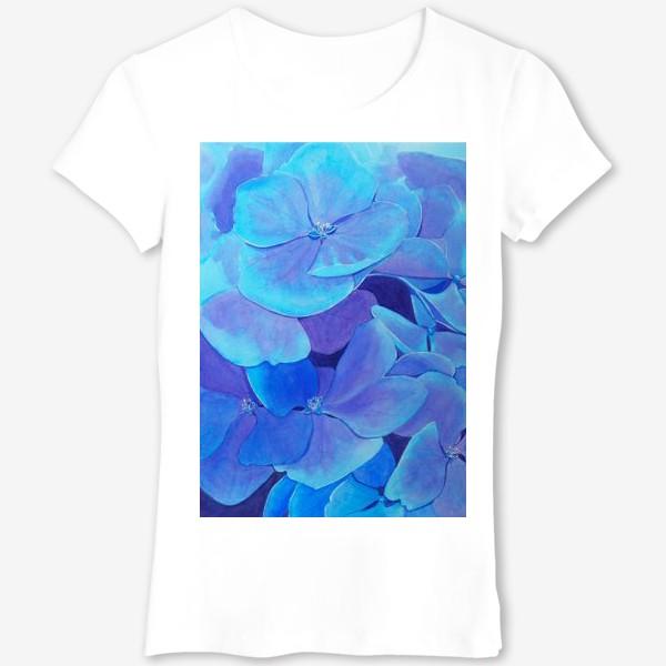 Футболка «Цветы голубой гортензии, акварельный летний ботанический принт»