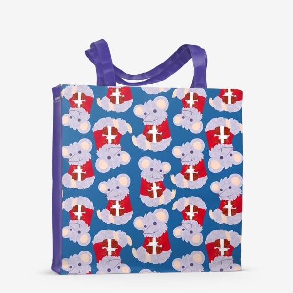 Сумка-шоппер «Мышки с подарками в красных свитеркахю С новым 2020 годом крысы»