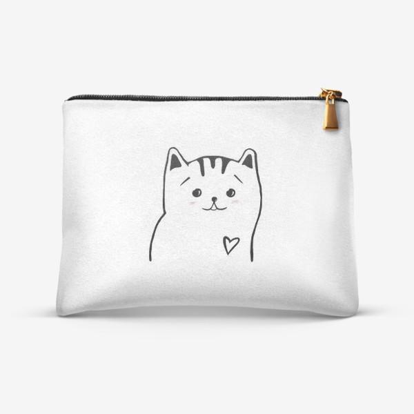 Косметичка «Влюбленный котик. Это любовь. Сердечко»