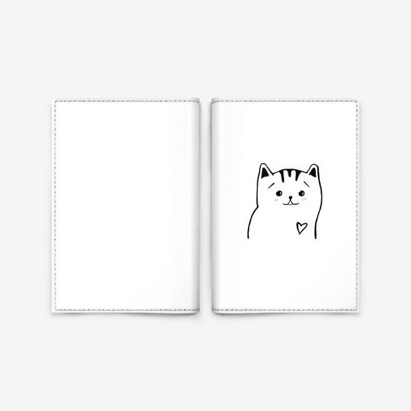 Обложка для паспорта «Влюбленный котик. Это любовь. Сердечко»