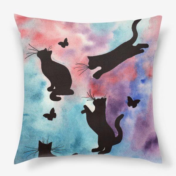 Подушка «Абстракция с кошками»